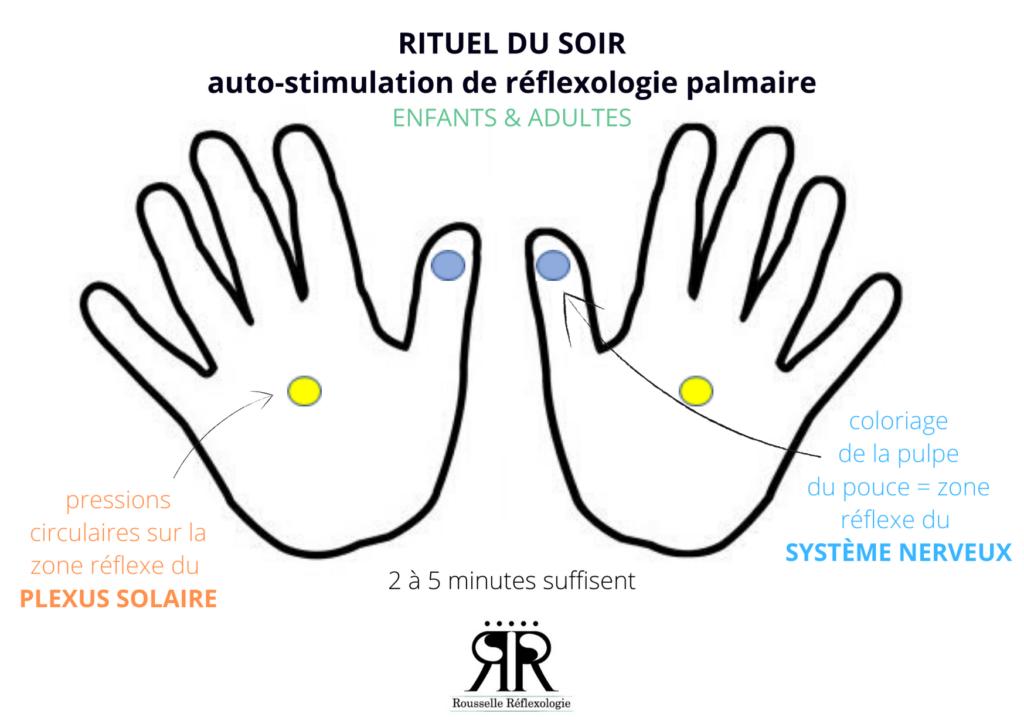 Créer un rituel du soir avec la réflexologie en auto-stimulation.